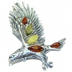 Huge Eagle Beautiful genuine Amber .925 Sterling Silver handcrafted Pendant Brooch