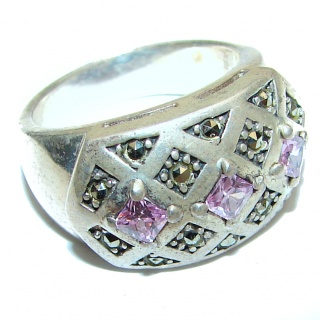 Spectacular Pink Topaz .925 Sterling Silver handcrafted Ring size 6