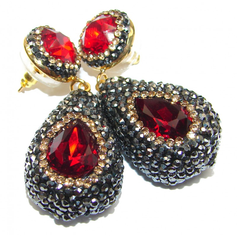 Huge Incredible Raspberry Topaz Spinel .925 Sterling Silver handcrafted earrings