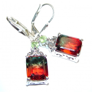 Precious Watermelon Tourmaline .925 Sterling Silver entirely handmade earrings