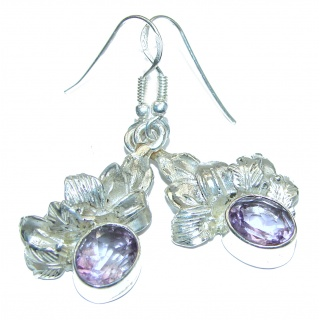 Deep purple Amethyst .925 Sterling Silver handmade Earrings