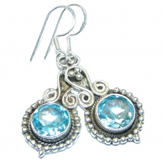 Vintage Style Swiss Blue Topaz .925 Sterling Silver handmade earrings