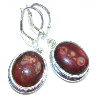 Sublime Aura Canadian Fire Ammolite .925 Sterling Silver handmade earrings