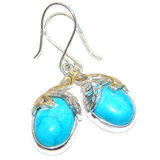 Genuine Sleeping Beauty Turquoise 14K Gold over .925 Sterling Silver handcrafted Earrings
