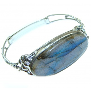 Simplcity Fire Labradorite .925 Sterling Silver Large handcrafted Bracelet / Cuff