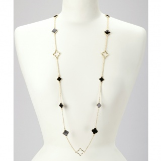 Exclusive Mother Of Pearl 36 inches Long .925 Station Necklace