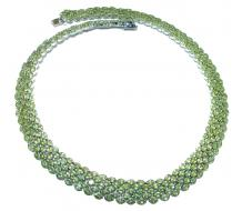 LARGE Great Masterpiece genuine Peridot   .925 Sterling Silver handmade necklace