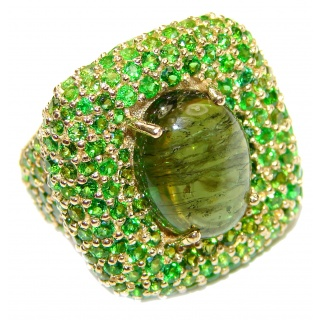 Spectacular Genuine 20ctw Green Tourmaline 24K Gold over .925 Sterling Silver handcrafted Statement Ring size 8 1/4