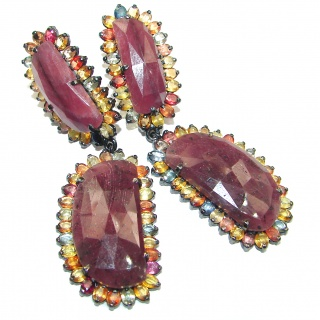 Large Authentic Ruby Tourmaline .925 Sterling Silver handmade earrings