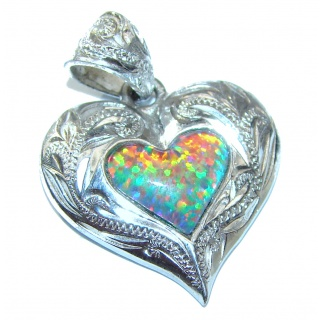 My Sweet Heart Natural Doublet Opal .925 Sterling Silver handmade Pendant