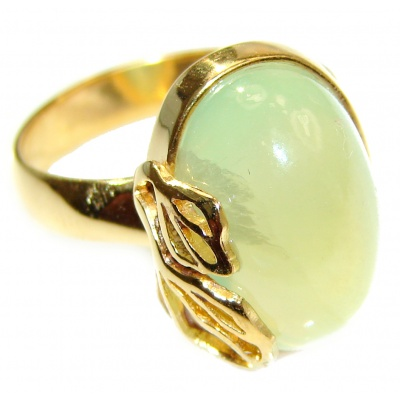 Natural Prehnite 14K Gold over .925 Sterling Silver handmade ring s. 8