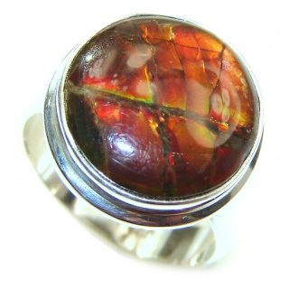 Pure Energy Genuine Canadian Ammolite .925 Sterling Silver handmade ring size 7 adjustable