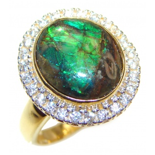 Pure Energy Genuine Canadian Ammolite 14K Gold over .925 Sterling Silver handmade ring size 7