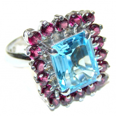 Genuine 18ctw Swiss Blue Topaz .925 Sterling Silver handcrafted Statement Ring size 7 3/4