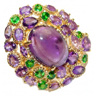 Natural Amethyst Chrome Diopside 18K Gold over .925 Sterling Silver handmade ring s. 7 1/4
