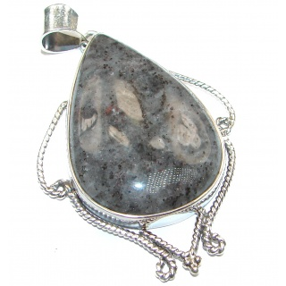 Simple Tourmalinated Quartz Sterling Silver handmade Pendant