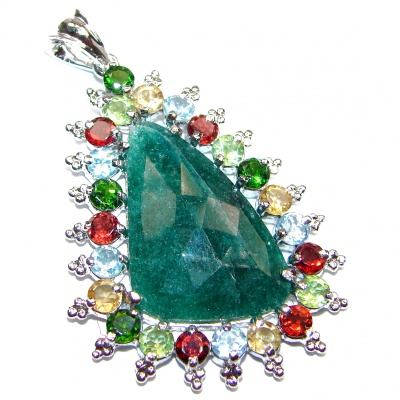 Victorian Style protective power Emerald .925 Sterling Silver Pendant
