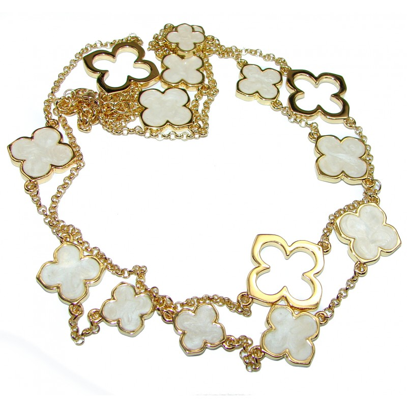 Gold over Sterling Silver Blister Pearl Clover 38 inches Long Station Necklace