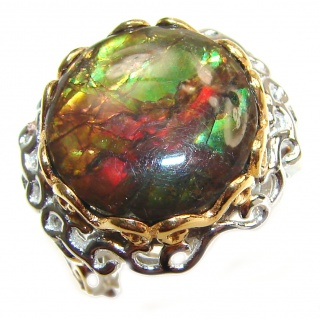 Good Energy Genuine Canadian Ammolite 14K Gold over .925 Sterling Silver handmade ring size 7