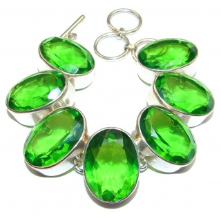 Posh Green Land Quartz .925 Sterling Silver handmade Bracelet