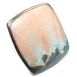 Huge Peachy Color Aventurine .925 Sterling Silver handcrafted Ring s. 8 3/4