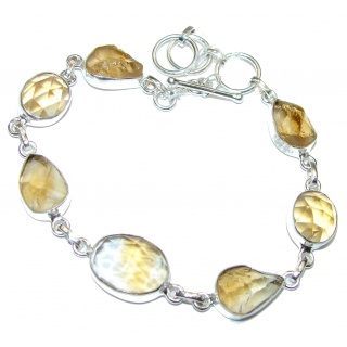 Stunning genuine rough Citrine .925 Sterling Silver handmade Bracelet
