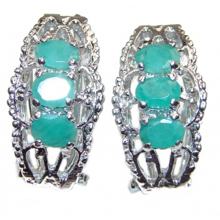 Spectacular Authentic Emerald .925 Sterling Silver handmade earrings