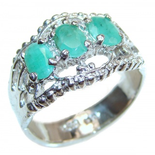 Genuine Emerald .925 Sterling Silver Statement ring; s. 9