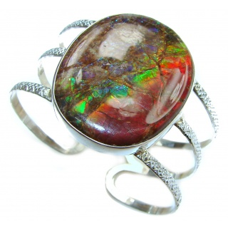 Beautiful New Design HUGE Ammolite .925 Sterling Silver handmade Bracelet / Cuff