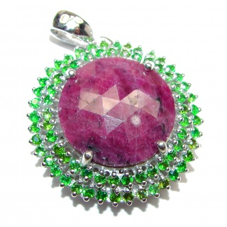 Vintage Design 49ctw Ruby Emerald .925 Sterling Silver handmade Pendant