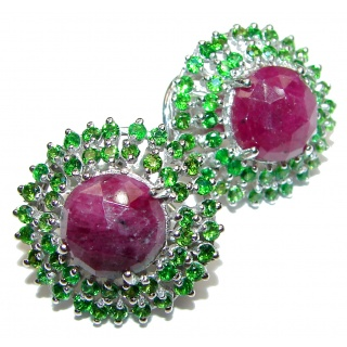 Spectacular Authentic Ruby Emerald .925 Sterling Silver handmade earrings
