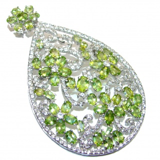 My Heirloom genuine Peridot 3 1/4 inches long .925 Sterling Silver handcrafted LARGE Pendant BROOCH