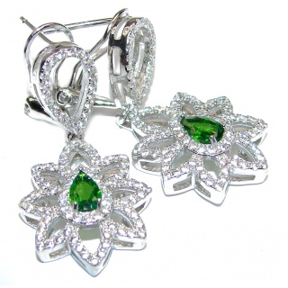 Incredible Emerald Diamond.925 Sterling Silver handmade earrings