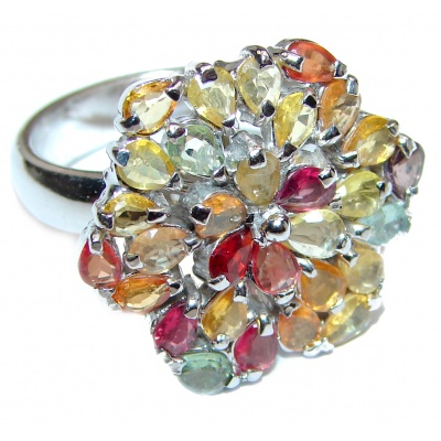 Sublime Tourmaline .925 Sterling Silver handcrafted Statement Ring size 7 1/2