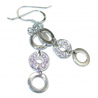 Precious Pink Topaz .925 Sterling Silver entirely handmade earrings