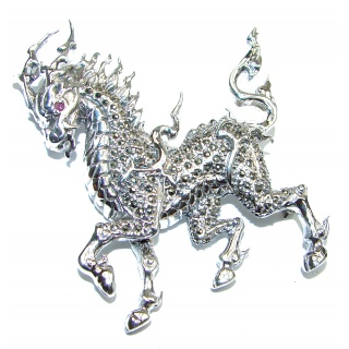 Huge Protective Dragon Marcasite .925 Sterling Silver handmade Pendant Brooch