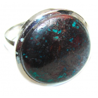 Huge Azurite stone .925 Sterling Silver ring; s. 12