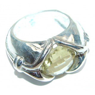 Luxury Citrine Sterling Silver ring; s. 7 3/4