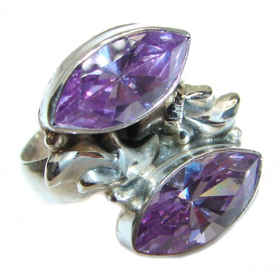 Purple Cubic Zirconia .925 Sterling Silver handmade Ring s. 7