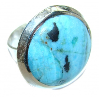 Turquoise .925 Sterling Silver handcrafted ring; s. 7 3/4