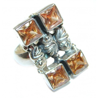 Golden Cubic Zirconia .925 Sterling Silver handmade Ring s. 8