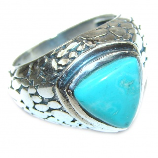 Huge Turquoise .925 Sterling Silver handcrafted ring; s. 10 3/4
