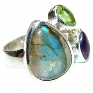 Genuine Labradorite .925 Sterling Silver handmade Cocktail Ring s. 8 adjustable