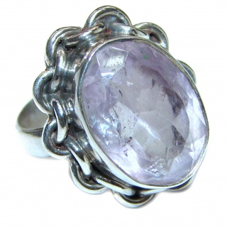 Spectacular Natural Amethyst .925 Sterling Silver handcrafted ring size 6 1/2
