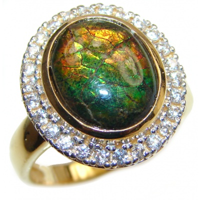 Vintage Design 18ctw Genuine Black Opal 24K Gold over .925 Sterling Silver handmade Ring size 7 3/4