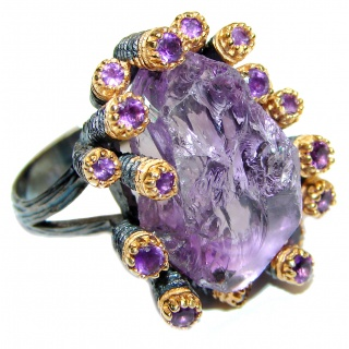 Jumbo Vintage Style Rough Amethyst .925 Sterling Silver handmade Cocktail Ring s. 6 1/4