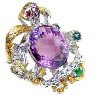 Large Royal style Natural Amethyst 18K Gold over .925 Sterling Silver handcrafted ring size 8