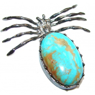 Incredible Spider Turquise black rhodium over .925 Sterling Silver handmade Pendant