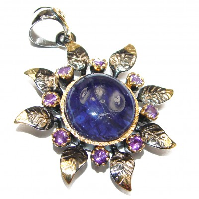 Perfect Combination 45ctw Tanzanite 18K Gold over .925 Sterling Silver handmade Pendant