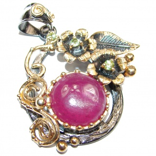 Protective Power genuine Ruby .925 Sterling Silver handmade Pendant